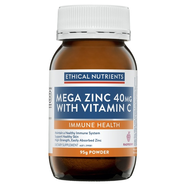 Ethical Nutrients-Mega Zinc 40mg Raspberry Powder 95G
