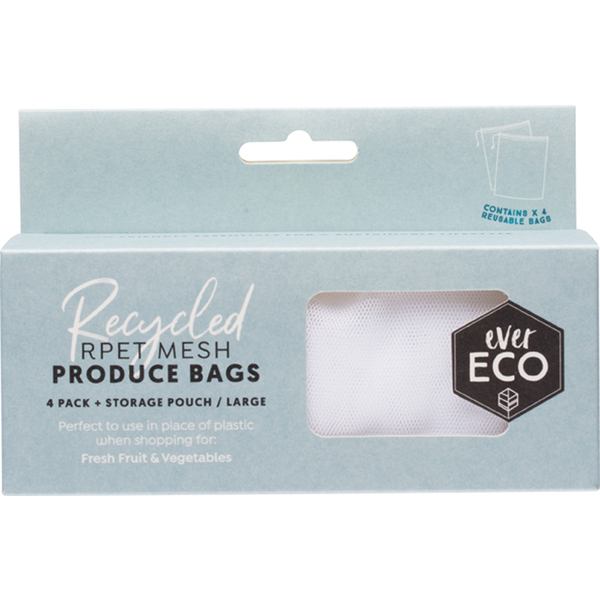 Ever Eco-Reusable Produce Bags RPET Mesh 4 Pack