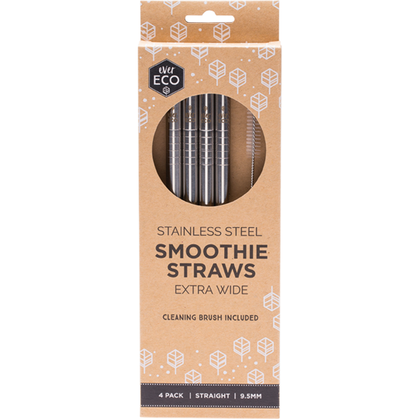 Ever Eco-Stainless Steel Smoothie Straws Straight 4 Pack