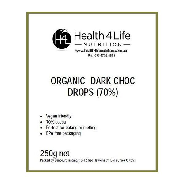Health 4 Life Nutrition-Organic Dark Chocolate Drops (70%) 250G
